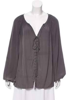 Ramy Brook Lace-Up Long Sleeve Blouse