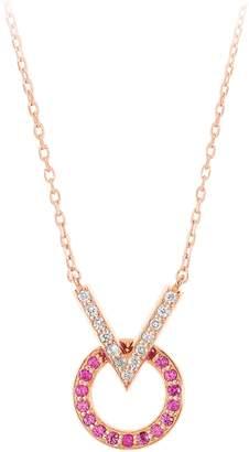 Sabine Getty Baby Memphis V Round Diamond & Pink Sapphire Necklace