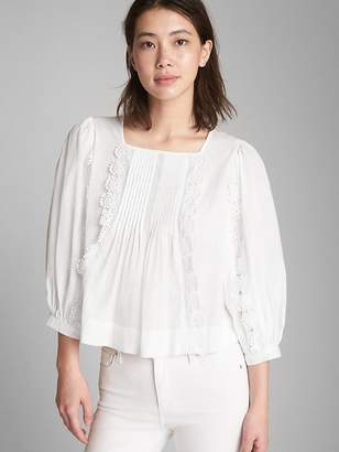 Gap Crochet Trim Bib-Front Blouse