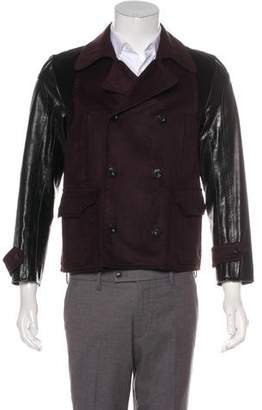 Gucci Leather-Trimmed Peacoat
