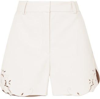 Stella McCartney Laser-cut Faux Leather Shorts - Ivory