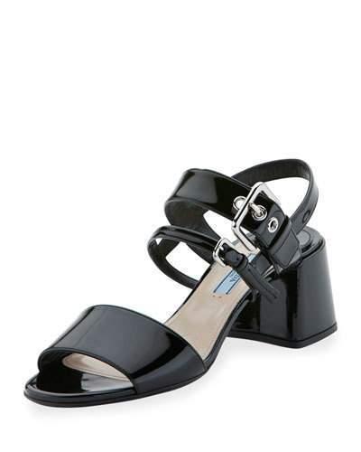 Prada Patent 55mm Chunky-Heel Sandal, Nero