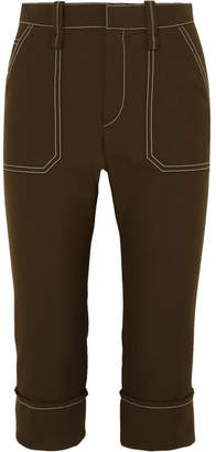 Chloé Cropped Straight-leg Crepe Pants - Dark brown