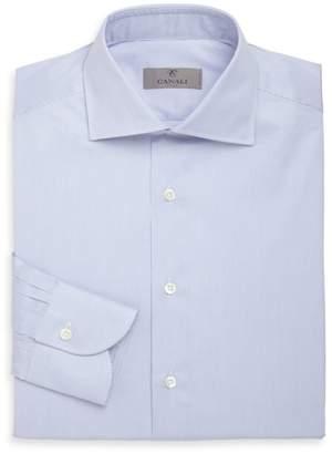 Canali Hairline Striped Cotton Dress Shirt
