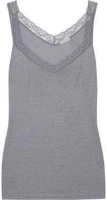 Hanro Heather Leavers Lace-trimmed Stretch-jersey Tank - Gray