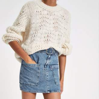 River Island Womens Mid Blue belted denim mini skirt