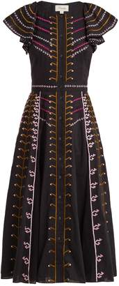 Temperley London Expedition embroidered-cotton ruffle midi dress