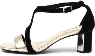Django & Juliette Glimpse Gold-black Sandals Womens Shoes Dress Heeled Sandals
