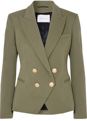 Pierre Balmain Double-breasted Cotton-blend Twill Blazer - Army green