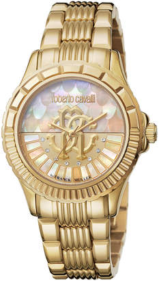 Roberto Cavalli By Franck Muller 35mm Logo Dial Golden Watch w/ Bracelet Strap