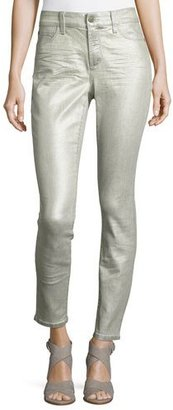 NYDJ Metallic Mid-Rise Skinny Jeans, Silver $148 thestylecure.com