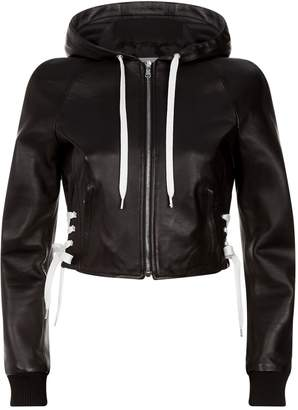 Lace-Up Leather Jacket