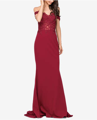 Dancing Queen Juniors' Embellished Lace-Trimmed Off-The-Shoulder Gown