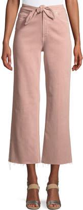 Paige Nellie Tie-Front Denim Culotte Pants