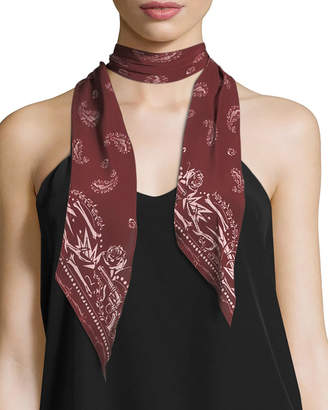 N. Guns Rockins Super Skinny Silk Scarf, Red Pattern