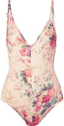 Zimmermann Laelia Pintucked Floral-print Swimsuit - Cream