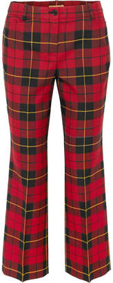 Michael Kors Cropped Tartan Wool Straight-leg Pants - Red