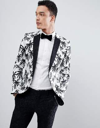 Asos Edition EDITION super skinny suit jacket in black and white palm tree print with contract black lace lapel