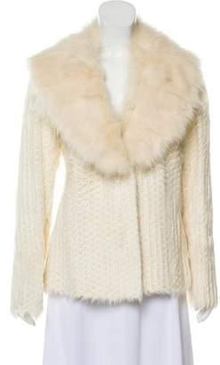 St. John Fur-Trimmed Perforated Jacket