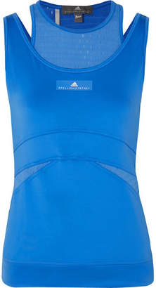 adidas by Stella McCartney Parley Layered Stretch-jersey And Mesh Tank - Blue