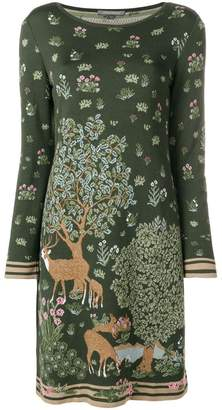 Alberta Ferretti deer intarsia knit dress