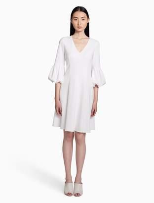 Calvin Klein v-neck bubble sleeve a-line dress
