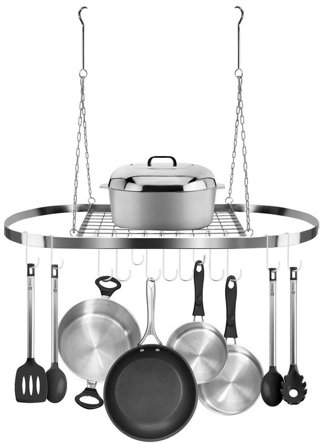 TRYIF Stainless Steel Hanging Oval Pot Rack with Hooks ?Decorative Oval Mounted Storage Rack ?Multi-Purpose Organizer for Home, Restaurant, Kitchen Cookware, Utensils, Books, Household (Hanging Chrome)