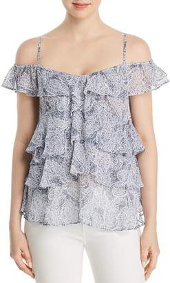 MICHAEL Michael Kors Metallic Paisley Tiered Ruffle Top