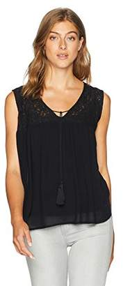 Serene Bohemian Women's Lace-Yoke Sleeveless Top with Tassel- Tie-Up (XXL)