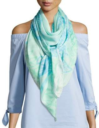 Anna Coroneo Square Hydrangeas Scarf, Light Blue