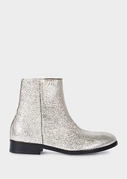 Paul Smith Women's Metallic Silver Leather 'Brooklyn' Boots