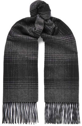 Brioni Checked Fringed Cashmere And Silk-Blend Scarf