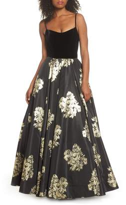 Mac Duggal IEENA FOR  Velvet & Floral Ballgown
