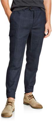 Brunello Cucinelli Men's Prince of Wales Wool\/Silk Trousers