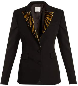 Hillier Bartley - Barathea Contrast Lapel Wool Blend Blazer - Womens - Black Gold