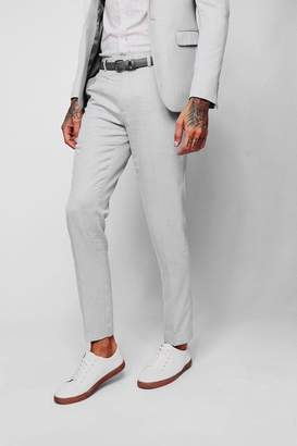 boohoo Light Grey Textured Skinny Fit Suit Trouser