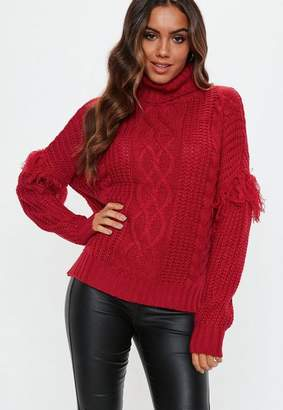 Missguided Red Turtle Neck Cable Fringe Sweater