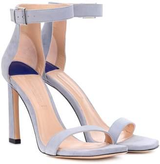 Stuart Weitzman Squarenudist 100 suede sandals