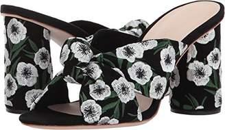 Loeffler Randall Women's Coco High Heel Knot Slide (Suede/Embroidery) Heeled Sandal