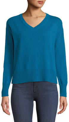 Neiman Marcus Easy V-Neck Cashmere Pullover Sweater