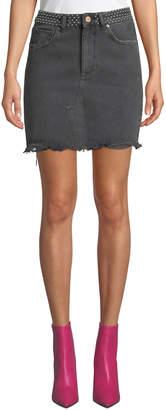 DL1961 Premium Denim Georgia Studded Frayed Denim Skirt
