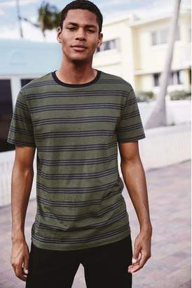 Next Mens Khaki/Navy Stripe T-Shirt