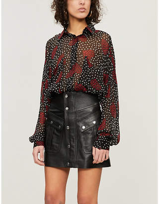 The Kooples Heart print semi-sheer blouse