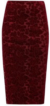 Galvan High Rise Rose Applique Velvet Pencil Skirt - Womens - Burgundy