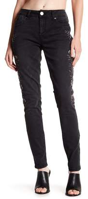 Seven7 Floral Embroidered Skinny Jeans
