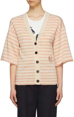 Chloé Logo embroidered stripe cashmere short sleeve cardigan