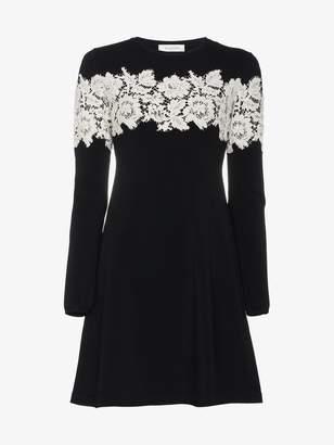 Valentino Lace-Embroidered Stretch Mini Dress