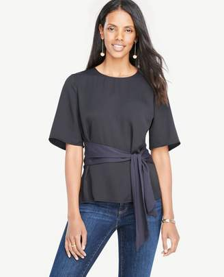 Ann Taylor Belted Mixed Media Top