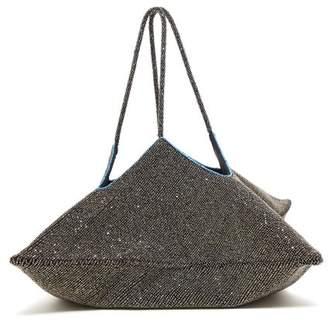 The Row Flat Hobo Beaded Geometric Clutch - Womens - Silver Multi