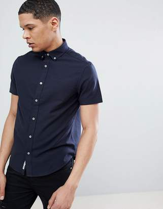 Original Penguin Short Sleeve Slim Fit Oxford Shirt With Button Down Collar In Navy